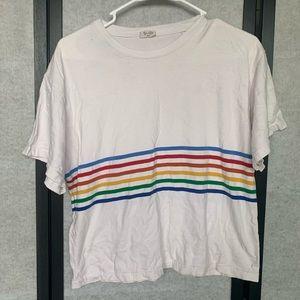 White rainbow strip top